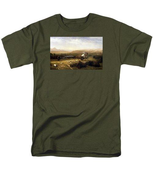 The Last Of The Buffalo  Men's T-Shirt  (Regular Fit) by Albert Bierstadt