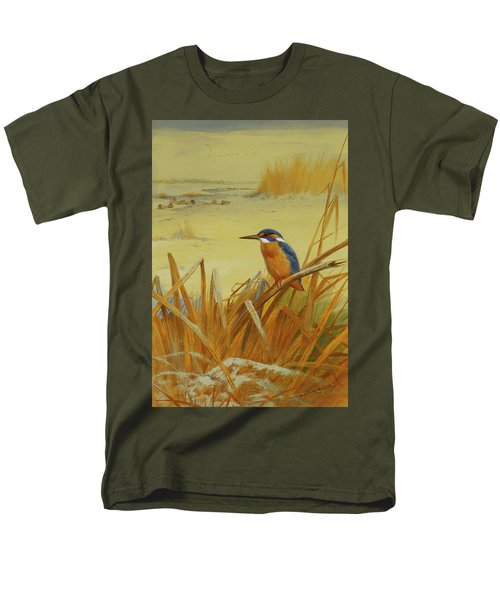 A Kingfisher Amongst Reeds In Winter Men's T-Shirt  (Regular Fit) by Archibald Thorburn