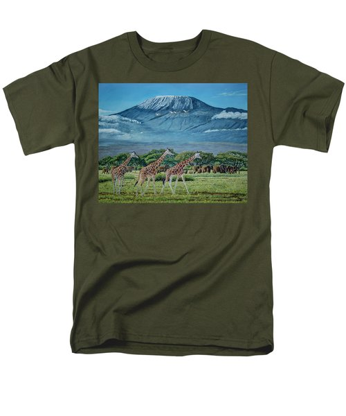 African Giants At Mount Kilimanjaro, Original Oil Painting 48x60 In On Gallery Canvas Men's T-Shirt  (Regular Fit) by Manuel Lopez