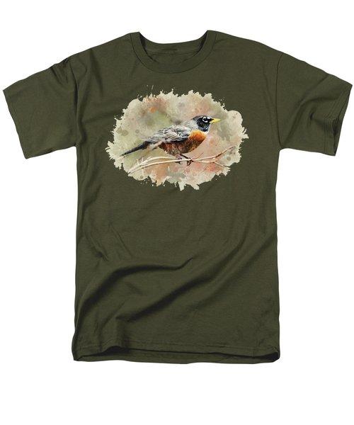 American Robin - Watercolor Art Men's T-Shirt  (Regular Fit) by Christina Rollo