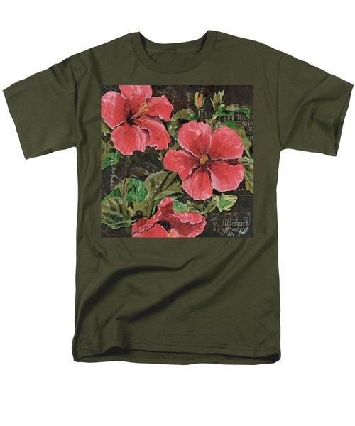 Antique Hibiscus Black 2 T-Shirt by Debbie DeWitt