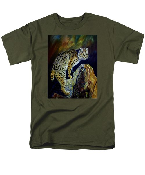 Bobcat At Sunset Original Oil Painting 16x20x1 Inch On Gallery Canvas Men's T-Shirt  (Regular Fit) by Manuel Lopez