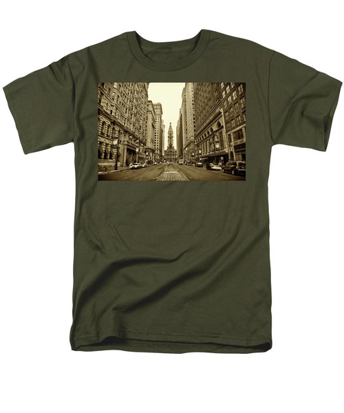Broad Street Facing Philadelphia City Hall in Sepia T-Shirt by Bill Cannon