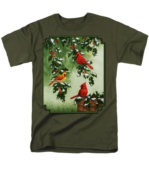 Cardinals And Holly - Version With Snow Men's T-Shirt  (Regular Fit) by Crista Forest