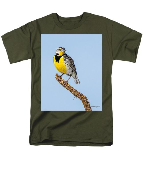 Meadowlark On Mullein Stalk Men's T-Shirt  (Regular Fit) by Stephen Johnson