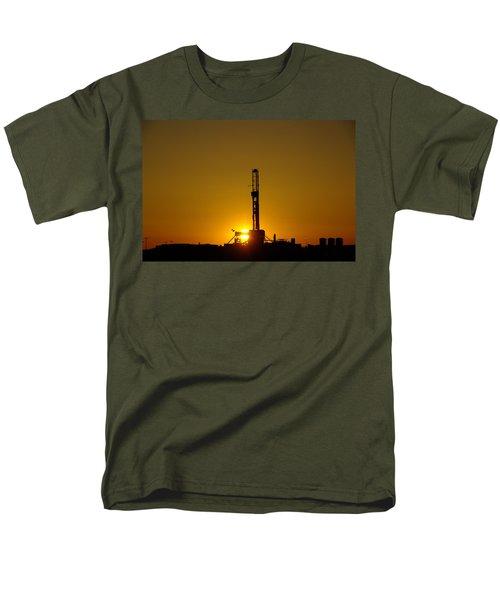 Oil Rig Near Killdeer In The Morn Men's T-Shirt  (Regular Fit) by Jeff Swan
