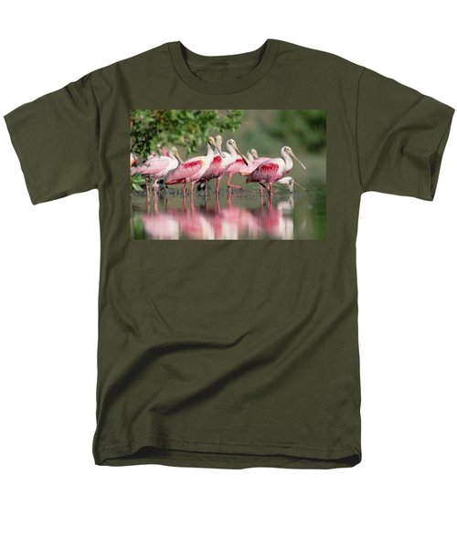 Roseate Spoonbill Flock Wading In Pond Men's T-Shirt  (Regular Fit) by Tim Fitzharris
