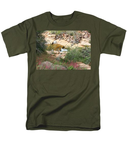Slide Rock with Pink Wildflowers T-Shirt by Carol Groenen