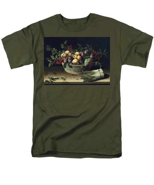 Still Life With A Basket Of Fruit And A Bunch Of Asparagus Men's T-Shirt  (Regular Fit) by Louise Moillon