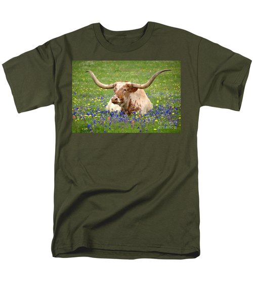 Texas Longhorn in Bluebonnets T-Shirt by Jon Holiday