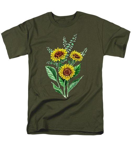 Three Playful Sunflowers Men's T-Shirt  (Regular Fit) by Irina Sztukowski