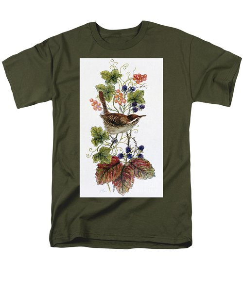 Wren On A Spray Of Berries Men's T-Shirt  (Regular Fit) by Nell Hill