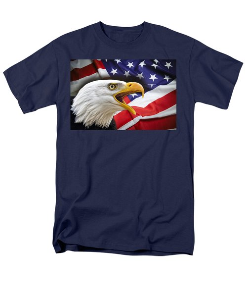 AGGRESSIVE EAGLE and UNITED STATES FLAG T-Shirt by Daniel Hagerman