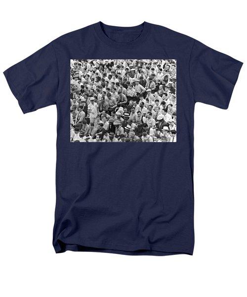 Baseball Fans In The Bleachers At Yankee Stadium. Men's T-Shirt  (Regular Fit) by Underwood Archives