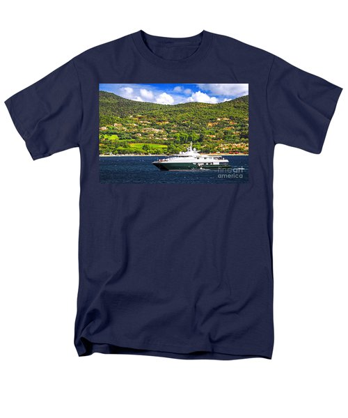 Luxury yacht at the coast of French Riviera T-Shirt by Elena Elisseeva