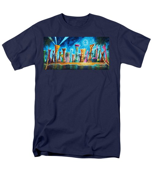Miami City South Beach Original Painting Tropical Cityscape Art Miami Night Life By Madart Absolut X Men's T-Shirt  (Regular Fit) by Megan Duncanson