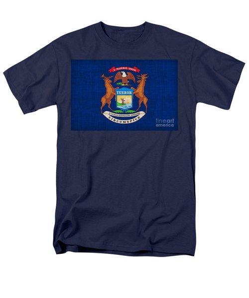 Michigan State Flag Men's T-Shirt  (Regular Fit) by Pixel Chimp