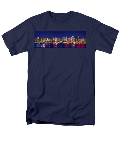 New York City Nyc Midtown Manhattan At Night Men's T-Shirt  (Regular Fit) by Jon Holiday