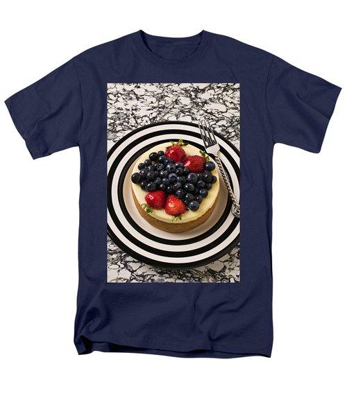 Cheese cake on black and white plate T-Shirt by Garry Gay