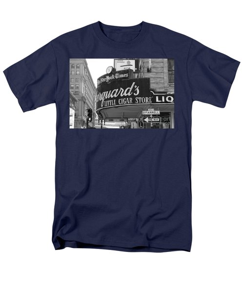 San Francisco Marquard's Little Cigar Store Powell and O'Farrell Streets - 5D17954 - black and white T-Shirt by Wingsdomain Art and Photography