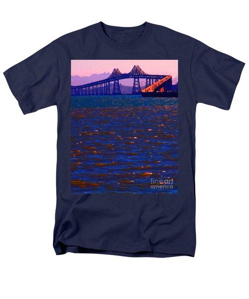 Sun Setting Beyond The Richmond-San Rafael Bridge - California - 5D18435 T-Shirt by Wingsdomain Art and Photography