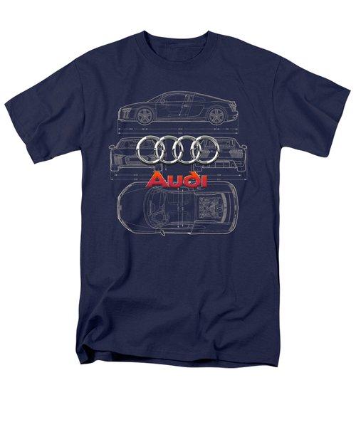 Audi 3 D Badge Over 2016 Audi R 8 Blueprint Men's T-Shirt  (Regular Fit) by Serge Averbukh