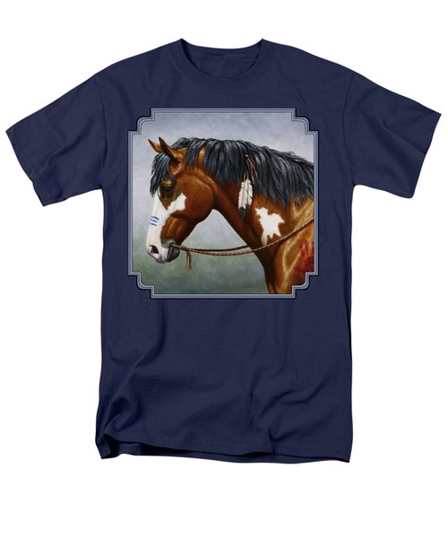 Bay Native American War Horse Men's T-Shirt  (Regular Fit) by Crista Forest
