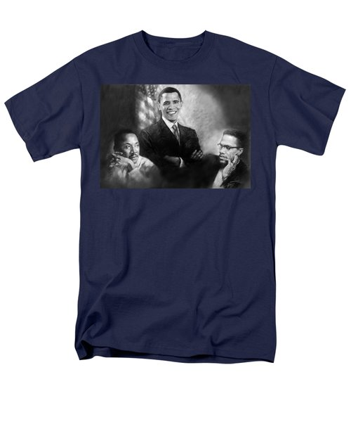 Barack Obama Martin Luther King Jr And Malcolm X Men's T-Shirt  (Regular Fit) by Ylli Haruni