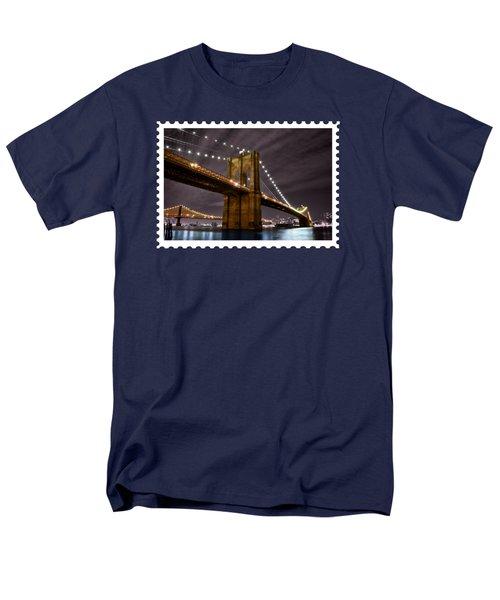 Brooklyn Bridge At Night New York City Men's T-Shirt  (Regular Fit) by Elaine Plesser