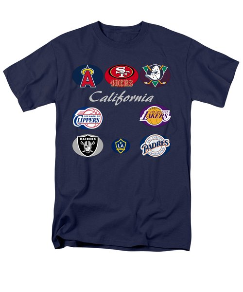 California Professional Sport Teams Collage  Men's T-Shirt  (Regular Fit) by Movie Poster Prints