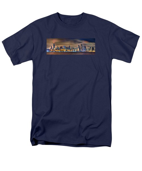 Chicago Skyline At Night Panorama Color 1 To 3 Ratio Men's T-Shirt  (Regular Fit) by Jon Holiday
