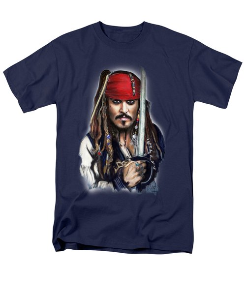 Johnny Depp As Jack Sparrow Men's T-Shirt  (Regular Fit) by Melanie D