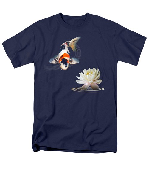 Koi Carp Abstract With Water Lily Square Men's T-Shirt  (Regular Fit) by Gill Billington