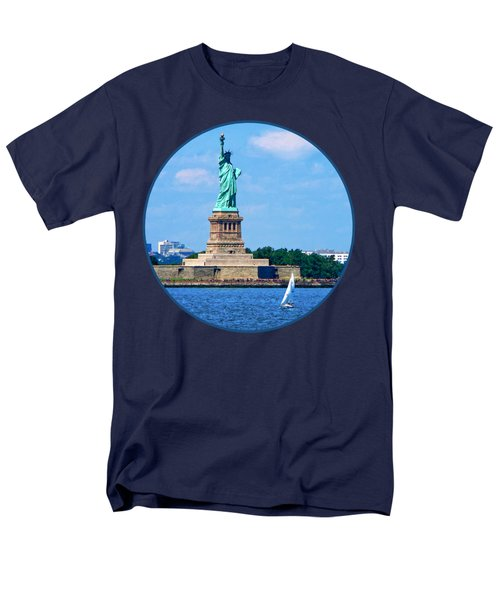Manhattan - Sailboat By Statue Of Liberty Men's T-Shirt  (Regular Fit) by Susan Savad