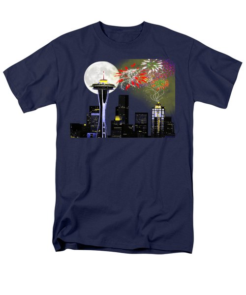 Seattle Skyline Men's T-Shirt  (Regular Fit) by Methune Hively