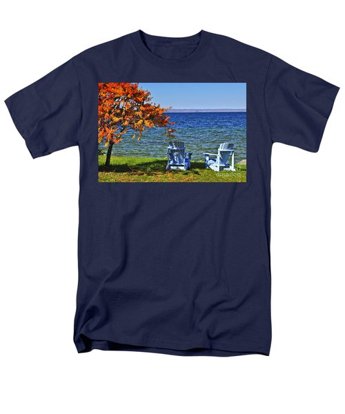 Wooden chairs on autumn lake T-Shirt by Elena Elisseeva