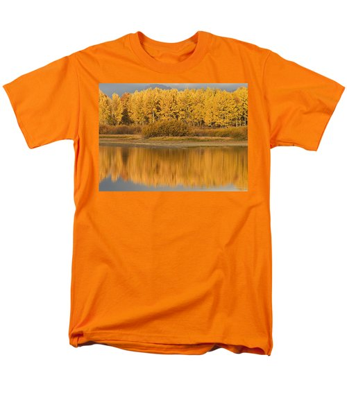 Autumn Aspens Reflected In Snake River T-Shirt by David Ponton