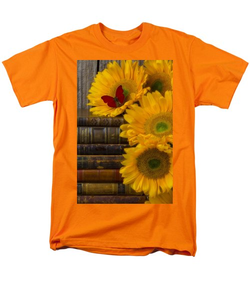 Sunflowers and old books T-Shirt by Garry Gay