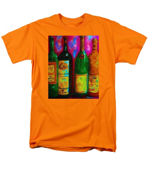 Wine Bottle Quartet on a Blue Patched Wall T-Shirt by Eloise Schneider