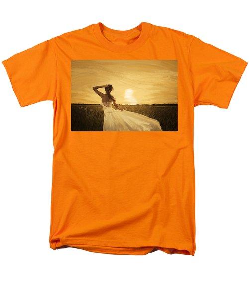 bride in yellow field on sunset  T-Shirt by Setsiri Silapasuwanchai