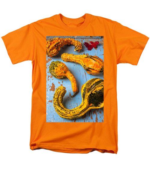 Gourds on wooden blue board T-Shirt by Garry Gay