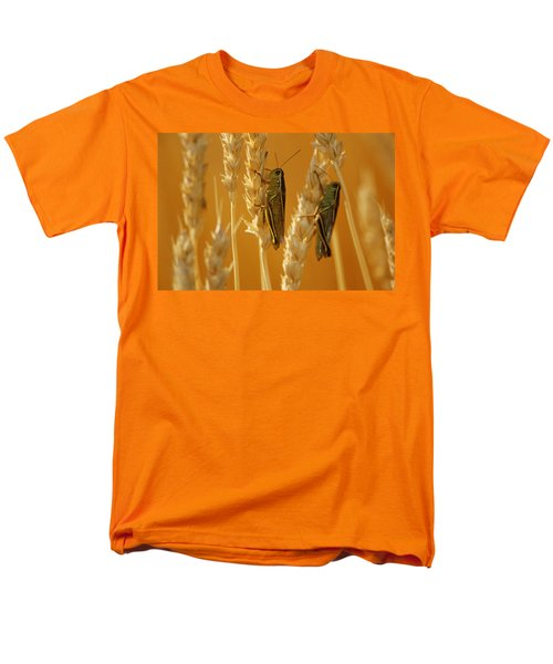 Grasshoppers On Wheat, Treherne Men's T-Shirt  (Regular Fit) by Mike Grandmailson