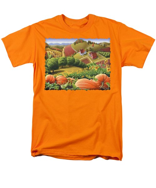 Farm Landscape - Autumn Rural Country Pumpkins Folk Art - Appalachian Americana - Fall Pumpkin Patch Men's T-Shirt  (Regular Fit) by Walt Curlee