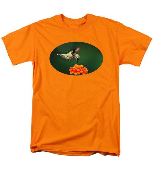 Ruby-throated Hummingbird Feeding On Orange Zinnia Flower Men's T-Shirt  (Regular Fit) by Christina Rollo