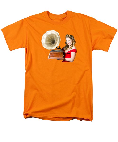 Beautiful Woman With Gramophone Isolated On White Men's T-Shirt  (Regular Fit) by Jorgo Photography - Wall Art Gallery