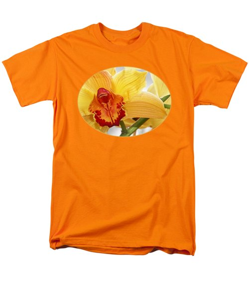 Golden Cymbidium Orchid Men's T-Shirt  (Regular Fit) by Gill Billington