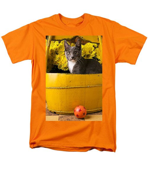 Gray kitten in yellow bucket T-Shirt by Garry Gay