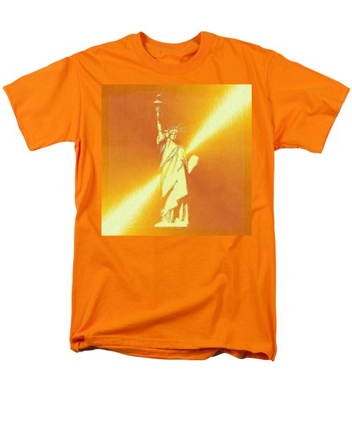Sunstrike On Statue Of Liberty Men's T-Shirt  (Regular Fit) by Clive Littin