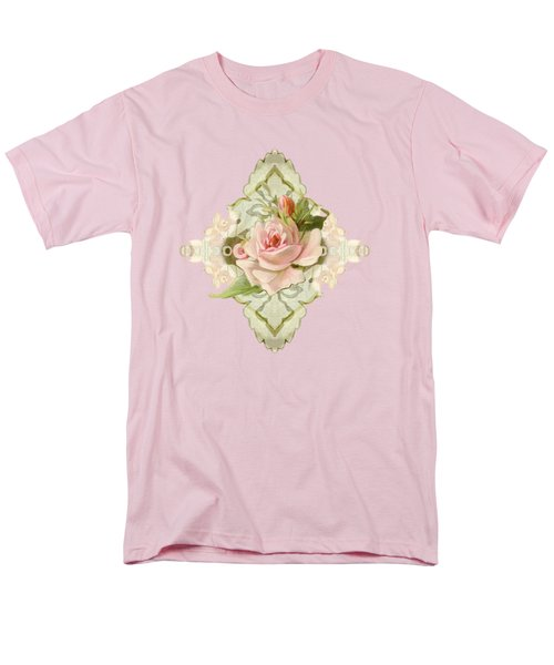Summer At The Cottage - Vintage Style Damask Roses Men's T-Shirt  (Regular Fit) by Audrey Jeanne Roberts
