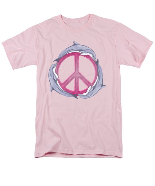 Dolphin Peace Pink Men's T-Shirt  (Regular Fit) by Chris MacDonald